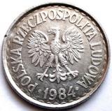 POLONIA , 1 ZLOT 1984 , WHITE EAGLE , LARGE TYPE  25mm., Europa, Aluminiu