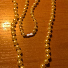Colier perla cu inchizatoare aur 18Karate, veche-Franta - Colier perle