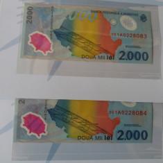 Romania 2000 lei 1999-eclipsa-UNC+Plic BNR- SERII CONSCUTIVE - Bancnota romaneasca