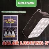 Kit Solar Lampa 12LED SMD, Telecomanda, USB, 3 Becuri, 6V2.4Ah GD8054 - Panou solar