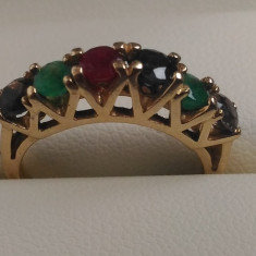 Inel aur cu pietre multi color naturale, Inel din colectie Pret Incredibil, Carataj aur: 14k, Culoare: Galben