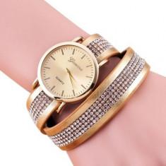 Ceas dama Geneva Fashion auriu golden curea lunga cristale + ambalaj cadou, Mecanic-Manual, Analog