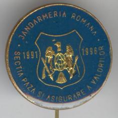 JANDARMERIA ROMANA - Sectia Paza Valori 1991-1996 - Insigna Romania