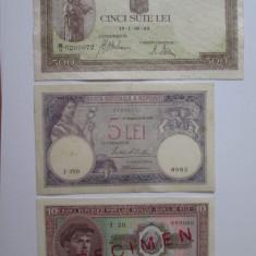 Lot 3 bancnote rare Romania:500 Lei 1943+10 lei 1952 Specimen+5 Lei 1929 - Bancnota romaneasca