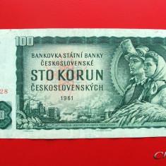 CEHOSLOVACIA - 100 Korun 1961 - bancnota europa