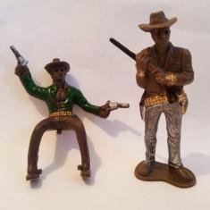 2 figurine cowboy plastic, 7 cm, Vestul Salbatic, Wild West