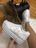 Adidasi dama albi cu platforma marime  39, 40+CADOU