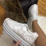 Adidasi dama albi cu platforma marime 38, 39, 40+CADOU