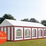 Cort Evenimente 4x10 m Premium 2 m Alb Rosu - Decoratiuni nunta