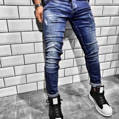 Blugi pentru barbati, albastri, slim fit, conici, casual, skinny, zgarieturi decorative - BR-03, 30, 31, 32, 33