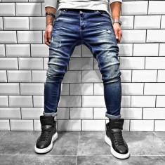 Blugi pentru barbati, albastri, slim fit, conici, casual, skinny, zgarieturi decorative - BR-04