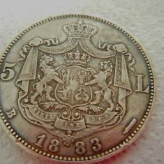 ROMANIA 5 LEI 1883 SUPERBA ! GARANTAT AUTENTICA ! - Moneda Romania, Argint
