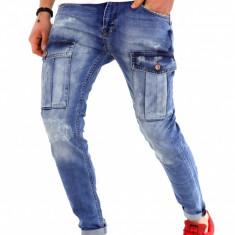 Blugi barbati albastri - slim fit - LICHIDARE DE STOC - 9770 G6-3, 29, 36, Din imagine