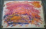 Peisaj de toamna/ acuarela si tempera Leon Misosniky, avangarda, dimensiuni mari