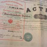 1873 Austria 200  Gulden actiune obligatiune la purtator