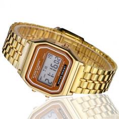 Ceas barbatesc Vintage Quartz digital cu data alarma cronometru auriu, Casual, Inox