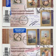 ROMANIA 2011 set 2 plicuri rare FDC Picturi din Tezaurul BNR circulate efectiv, Romania de la 1950, An: 2008, Istorie