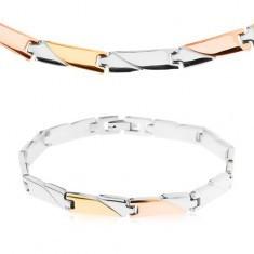 Set din oţel, colier şi brăţară, zale dreptunghiulare tricolore - Set bijuterii inox