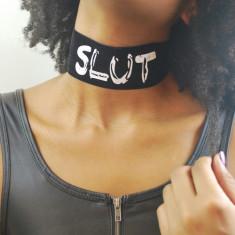 Sexy Gothic Punk Vintage Choker Lant Gat Soft Alb Negru Snur Reglabil SLUT - Dildo anal