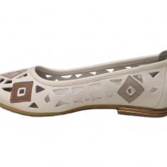 Balerini dama casual de vara din piele naturala - Made in Romania cod SV403ALB, Marime: 37