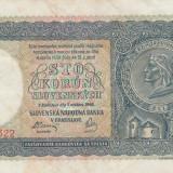 Slovacia  100 Korun 1940  P.10a   Prima emisie   VF
