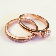 Set Inele cuplu, verigheta, inel de logodna, argint placat cu aur, zirconii - Inel placate cu aur