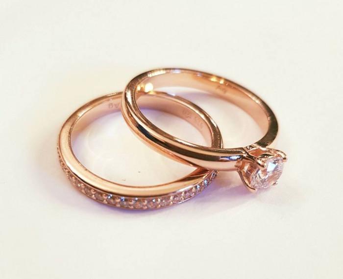 Set Inele Cuplu Verigheta Inel De Logodna Argint Placat Cu Aur