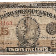 Canada 25 cents 1923 U - bancnota america