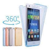 Husa silicon 360° fata + spate pentru Huawei P10 / P10 lite / P20 lite, Alt model telefon Huawei, Albastru, Auriu, Gri, Roz, Transparent