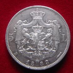 Moneda argint 5 lei 1883 varianta cu romb la coroana - Moneda Romania