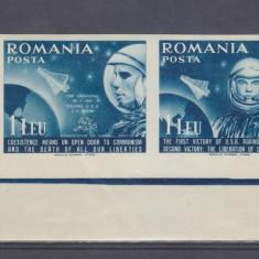 Romania  1962     EXIL        COSMONAUTICA     pereche    MNH  Nedantelata