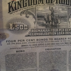 £500 Aur obligatiune la purtator cu dobanda emisa de Romania in 1922