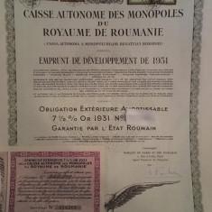 5000 Franci Aur Romania obligatiune externa Titlu de Stat  neincasat 1931