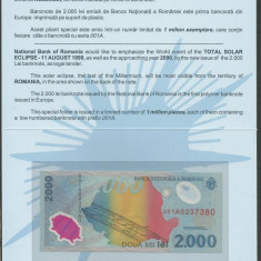 Romania 2000 2.000 Lei 1999 Eclipsa In Folder Bnr, Unc, Necirculata - Bancnota romaneasca