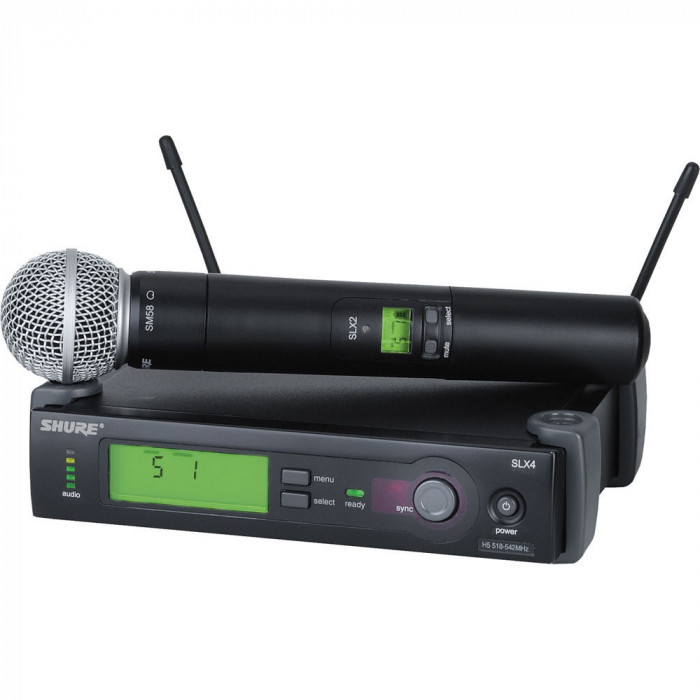 MICROFON PROFESIONAL WIRELESS  SHURE SLX4/SM58, KIT COMPLET,MADE IN USA.SIGILAT.