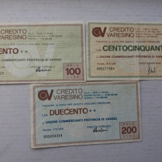 Italia -Provincia Varese- 100, 150, 200 lire 1976-assegno - bancnota europa
