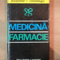 DICTIONAR CRONOLOGIC DE MEDICINA SI FARMACIE de G. BRATESCU 1975