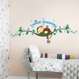 Sticker perete camera copil maimuta doarme sweet dreams 04