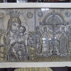Icoana greceasca Maica Domnului si Sf. Imparati Constantin si Elena - Pictor roman