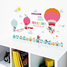 Sticker perete copii decorativ Mikey Mouse baloane follow your dream 1