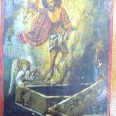 Icoana pe lemn, Invierea Domnului, datata 1872 - Pictor roman