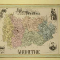 Harta regiunii Meurthe Franta, 1870 - Harta Romaniei