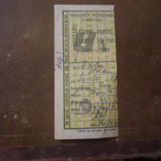 Tichet pentru lemne de foc an 1963 cp21
