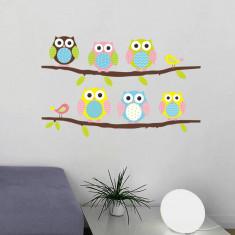 Sticker perete bufnite pe creanga camera copil decorativ living bufnita 03