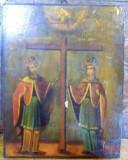 Icoana pe lemn romaneasca Sf. Constantin si Elena , Sec. XIX