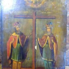 Icoana pe lemn romaneasca Sf. Constantin si Elena, Sec. XIX - Pictor roman