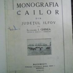 MONOGRAFIA CAILOR DIN JUDETUL ILFOV de I. GHINEA, BUC. 1929 - Carte veche