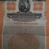 $1000 Aur Romania obligatiune la purtator cu cupoane neincasate 1929