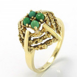 Inel Aur 14K Vintage Pietre Jade Deosebit