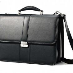 Servieta neagra, geanta din piele naturala, Samsonite, genti business - Geanta Barbati, Marime: Mare, Culoare: Negru